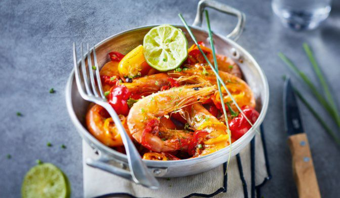 Crevettes tropicales crues (40 à 60 au kg)
